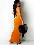 Summer Orange Sexy O-Ring Halter Crop Top and Irregular Long Skirt Set