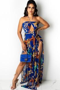 Yaz Seksi Baskı Yarık Halter Uzun Maxi Elbise