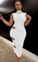 Yaz Zarif Beyaz Kesik Balıkçı Yaka Kolsuz Midi Elbise