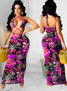 Yaz Seksi Çiçek Kesim Halter Uzun Parti Elbise