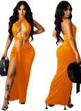 Summer Orange Sexy O-Ring Halter Crop Top y Conjunto de falda larga irregular