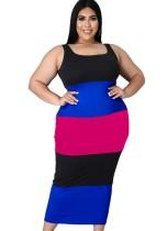 Vestido sin mangas largo con bloque de color de verano de talla grande