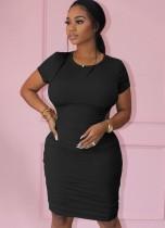 Verano casual negro de manga corta fruncido mini vestido ajustado