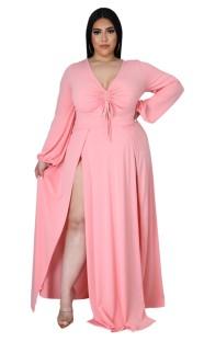 Vestido maxi longo outono plus size rosa com fenda longa
