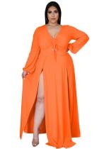 Sonbahar Büyük Beden Turuncu Uzun Kol Yırtmaçlı Uzun Maxi Elbise