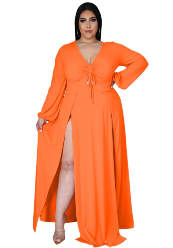 Vestido maxi largo con abertura de manga larga naranja de talla grande de otoño