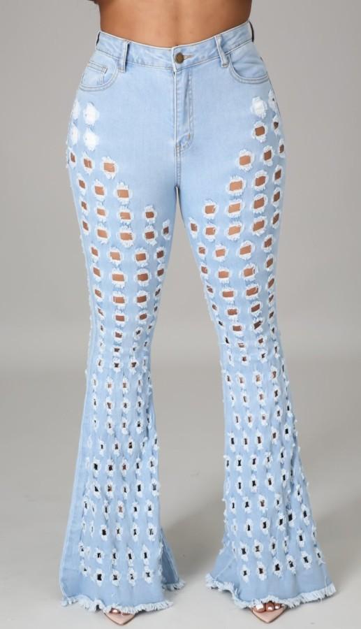 Sommer Hellblaue Aushöhlen High Waist Flare Jeans