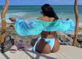 Blusa de sol corta con manga abullonada azul de verano