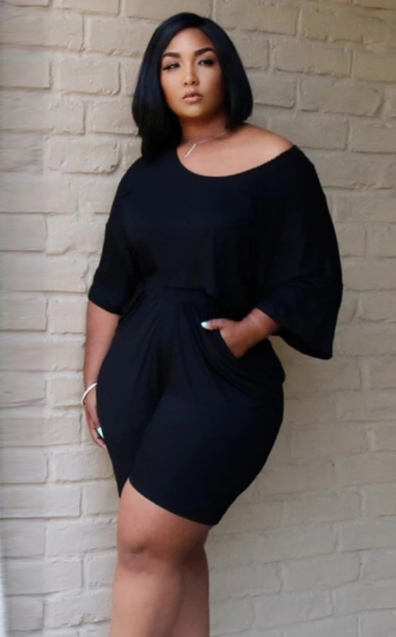 Summer Plus Size Casual Black Shirt y Shorts 2PC Set