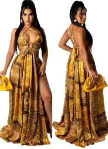 Vestido longo longo com halter dourado sexy com estampa de verão O-ring