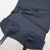 Verano Sexy Negro Sexy Recorte O-Ring Slit Strap Mini Club Vestido
