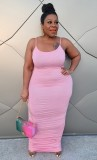 Sommer Plus Size Pink Curvy Strap Langes Partykleid