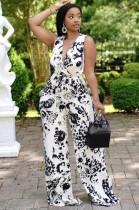 Summer Print Formal Sleeveless V-Neck Jumpsuit