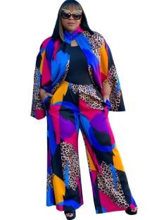 Conjunto de Jaqueta e Calças Formais Multicolor Summer Plus Size 2PC