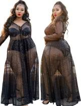 Sommer Plus Size Formales Schwarzes Pailletten Langarm Langes Kleid