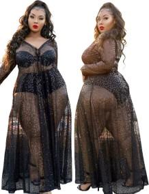 Vestido longo formal de lantejoulas preto de verão plus size