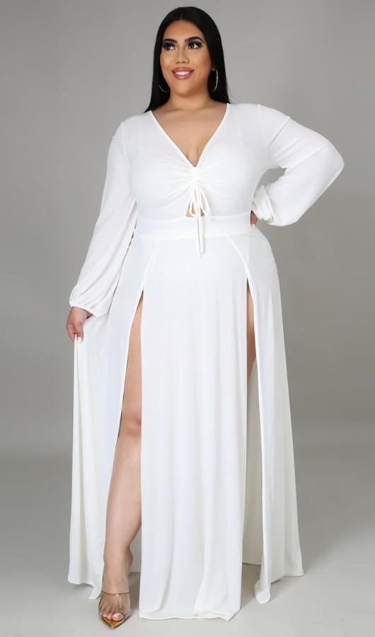 Vestido maxi largo con abertura de manga larga blanca de talla grande de otoño