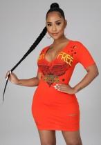 Sommer-Print Orange Zerrissenes Hemdkleid mit V-Ausschnitt