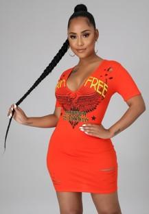 Vestido de camisa justa com estampa de verão laranja rasgado com decote em V