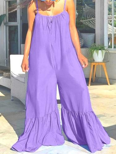 Combinaisons d'été décontractées à bretelles violettes taille plus