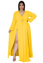 Sonbahar Büyük Beden Sarı Uzun Kol Yırtmaçlı Uzun Maxi Elbise
