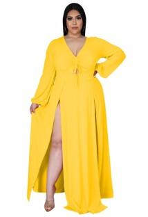 Vestido maxi longo outono plus size amarelo com fenda longa