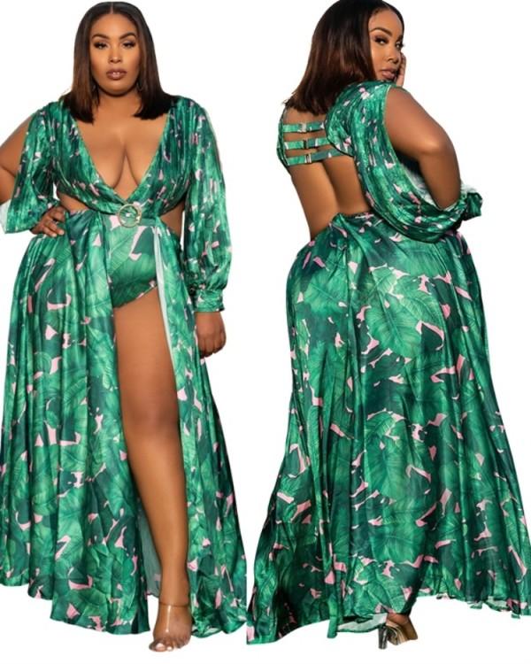 Vestido de fiesta largo sexy verde con estampado de tallas grandes de verano