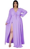 Robe longue longue fendue violette à manches longues et grande taille d'automne