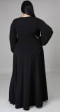 Vestido maxi largo con abertura de manga larga negra de talla grande de otoño