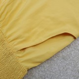 Mono de verano con tirantes formal amarillo de talla grande