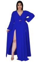 Sonbahar Büyük Beden Mavi Uzun Kol Yırtmaçlı Uzun Maxi Elbise