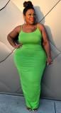 Sommer Plus Size Grünes Curvy Strap Langes Partykleid