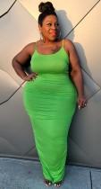 Yaz Büyük Beden Yeşil Kıvrımlı Askılı Uzun Parti Elbise
