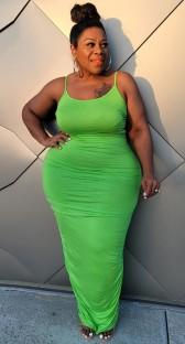 Vestido de festa longo verão plus size verde curvilíneo