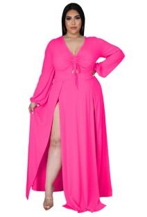Vestido maxi longo outono plus size rosa com fenda longa manga