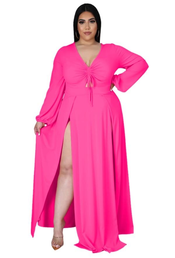Vestido maxi largo con abertura de manga larga rosa de talla grande de otoño