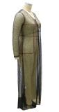 Vestido largo formal de manga larga con lentejuelas negras y tallas grandes de verano