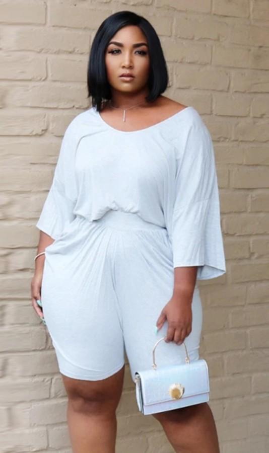 Conjunto de 2 piezas de camisa blanca informal y pantalones cortos de verano de talla grande