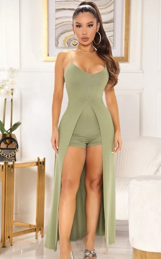 Mamelucos de tirantes altos y bajos formales de verano verde
