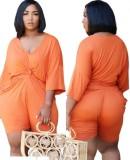 Summer Plus Size Casual Orange Shirt y Shorts 2PC Set
