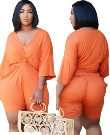 Conjunto de 2 peças de camisa e shorts laranja casual plus size verão