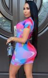 Vestido ajustado sexy multicolor de verano con mangas cortas