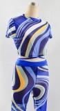 Conjunto de pantalón y top corto bodycon sexy multicolor de verano