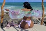 Blusa de sol corta con manga de soplo rosa de verano