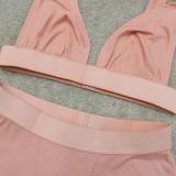 Summer Sports Pink Bra y Biker Shorts Conjunto de 2 piezas