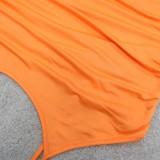 Sommer Plus Size Orange Curvy Strap Langes Partykleid