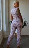 Summer Casual Print Crop Top and Pants Matching Set