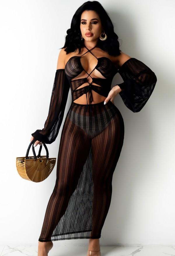 Vestido de verano negro transparente Sexy Cover-Ups