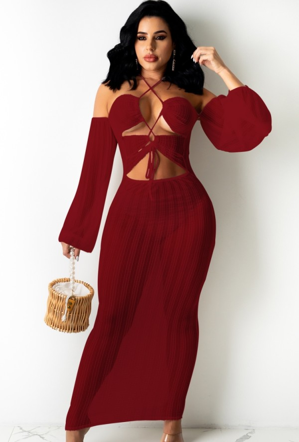Summer Red See Through Dress Sexy Cover-Ups