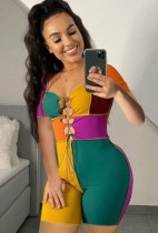 Sommer Sexy Color Block Lace-Up Kurzarm Bodycon Strampler